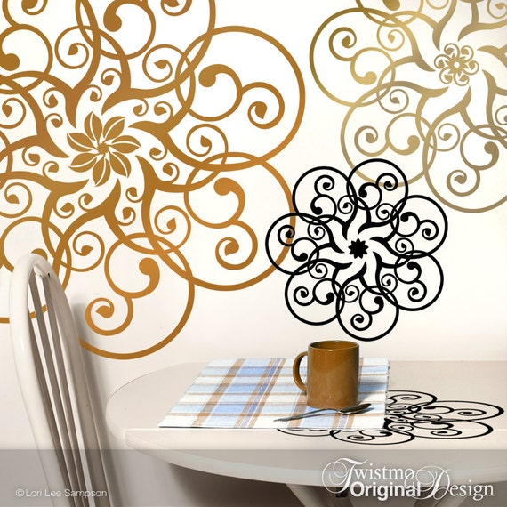 Doily Wall Decal Art - Metallic Copper & Gold Vinyl Wall Decals, Mandala Art,