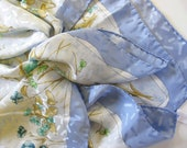 Garden Party Silk Scarf jacquard Beautiful blue floral