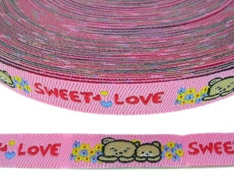 Twin Bears Embroidery Ribbon Kids Appliques Scrapbooking 4 Yards