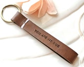 Leather Keychain. Key fob. Personalized Messages