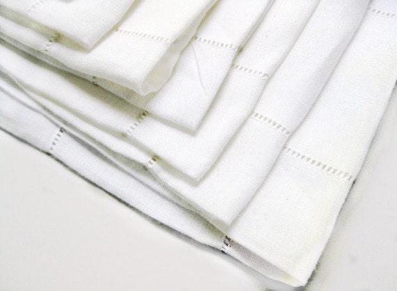 White Antique Cotton Luncheon Napkins Drawn Thread Set of 11 Textiles