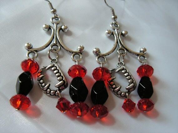 Clearance - Vampire Teeth Chandelier Earrings Black and Red