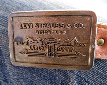 vintage Levi  Buckle and leather belt  Levis belt 70s