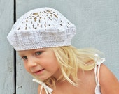 SALE- White beret for stylish kid - crochet knit accessories