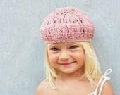 SALE- Rose Smoke beret for stylish kid - crochet knit accessories