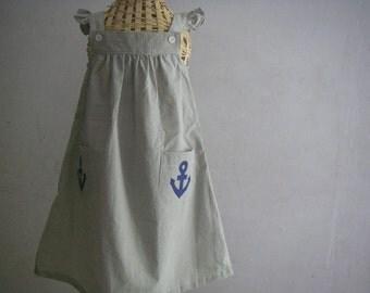 Handmade Blue Thin Striped Dress with Anchor Applique