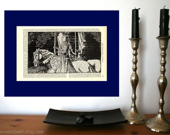 Medieval Nobility Vintange Illustration Print on Antique 1896 Dictionary Book Page