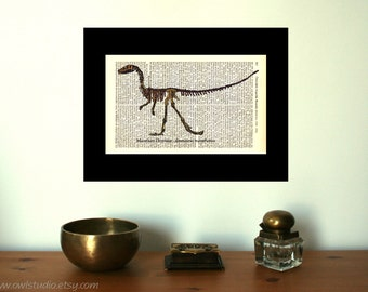 Marathon Dinosaur Skeleton Art Print on Antique 1896 Dictionary Book Page