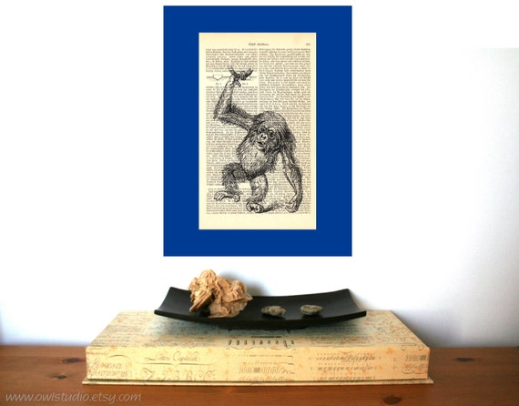 Little Monkey Vintage Art Print on Antique 1896 Dictionary Book Page