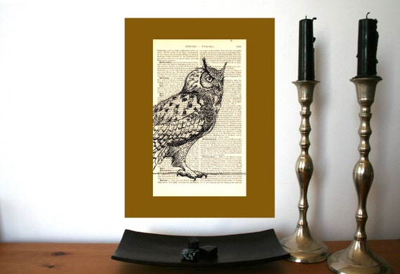 Eagle Owl 2 Large Art Print on Antique 1896 Dictionary Book Page