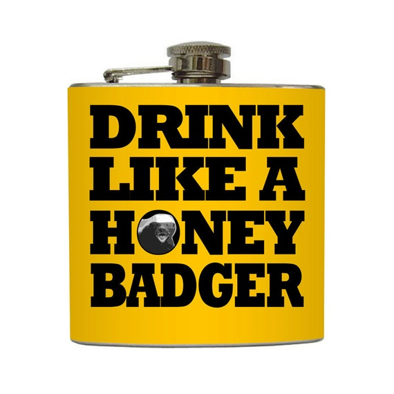 Honey Badger Don't Care Flask Funny 21st Birthday Custom Background Color Stainless Steel 8 oz or 6 oz Liquor Hip Flask LC-1129