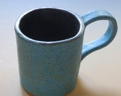 SALE  Stoneware Coffee or Tea MUG Turquoise BLUE and Black