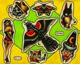 Birds n Clowns n Pinups Tattoo Flash
