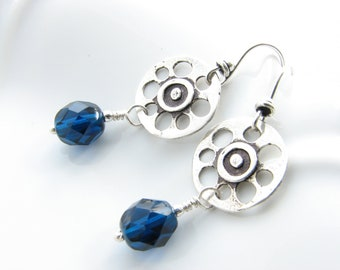 Sterling Silver Cobalt Blue Dangle Earrings Dark Blue Oxidized Silver Unique Spoke Beaded Earrings Under 25 Flower Circle Round Denim Casual