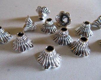 Bead Caps in Antiqued Silver Tone, Flower Bead Caps, Trumpet Shape, 12mm, 20 Pieces