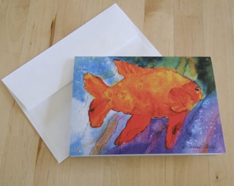 Garibaldi, Watercolor Greeting Cards, 5x7, Orange Fish, Marine life