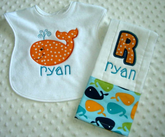 Baby Boy 2 PC Gift Set, Embroidered Bib and Burp Cloth, Whale Applique Personalized with Child's Name