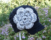 Sale...Pattern Confetti Betty Brim Hat with flower beanie PDF crochet baby toddler girl sizes Newborn -Adult