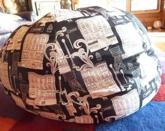 Black and White City Scene Bean Bag Chair Cover, Etsy Kids, Gifts Under 75