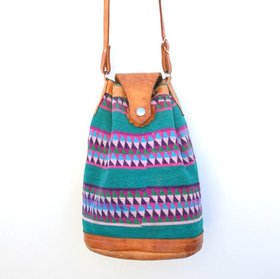 Vintage Large Ethnic Woven Green Bucket Bag