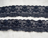 gothic black embroidery lace trim --- human skeleton
