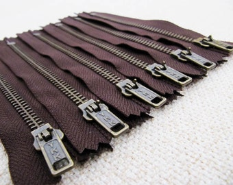 5inch - Dark Chocolate Brown Metal Zipper - Brass Teeth - 6pcs