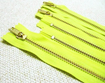 14inch - Neon Yellow Metal Zipper - Gold Teeth - 5pcs