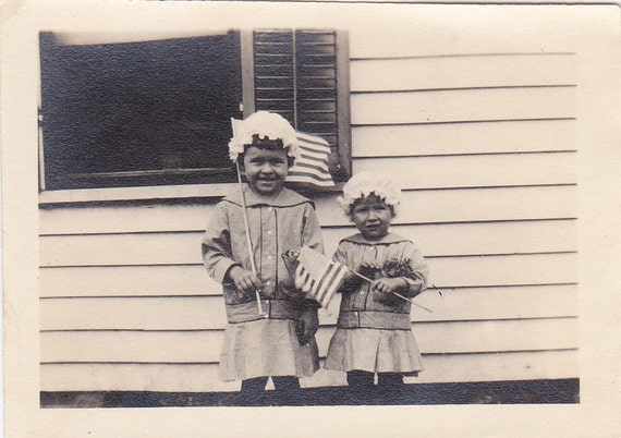 Girls With Flags Vintage Photograph (YY)