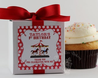 Red Polka Dot Carousel...One Dozen Personalized Cupcake Mix Birthday Party Favors