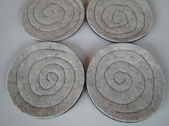 Gray Drink Coasters, Industrial Felt Drink Coasters, Spiral Fabric Coasters