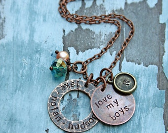 A mix of antiqued copper and gold shades with vintage green drop and peach pearl drop, personalized with names and my loves