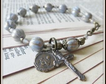 Bronze Catholic Rosary Bracelet w/ Madonna Litta Charm in Blue Czech Pressed Glass (Nursing Madonna Catholic Religious Bracelet)