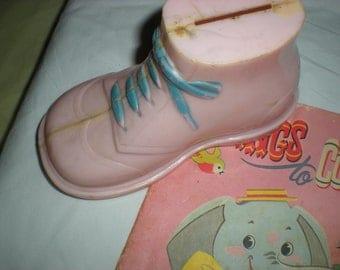 Vintage Baby Bank , Plastic Bank, Pink Shoe, Baby Shower, Midcentury, 1950s
