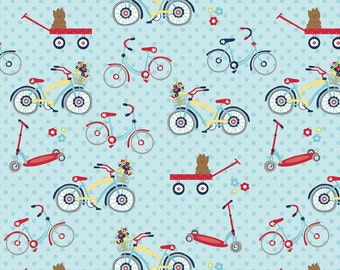 Dress Up Days Blue Bikes by Doohikey Designs for Riley Blake, 1/2 yard