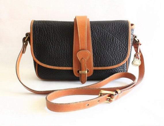Dooney and Bourke Black Pebble Leather and Tan Color Leather Trim Shoulder Bag // Cross Body Shoulder Bag // DB-1003