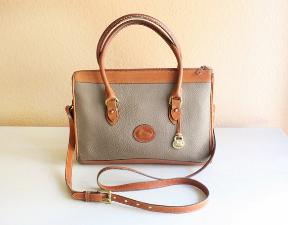 Dooney and Bourke Khaki Color Pebble Leather and Tan Color Leather Trim Shoulder Bag, Large Size , Cross Body Shoulder Bag.