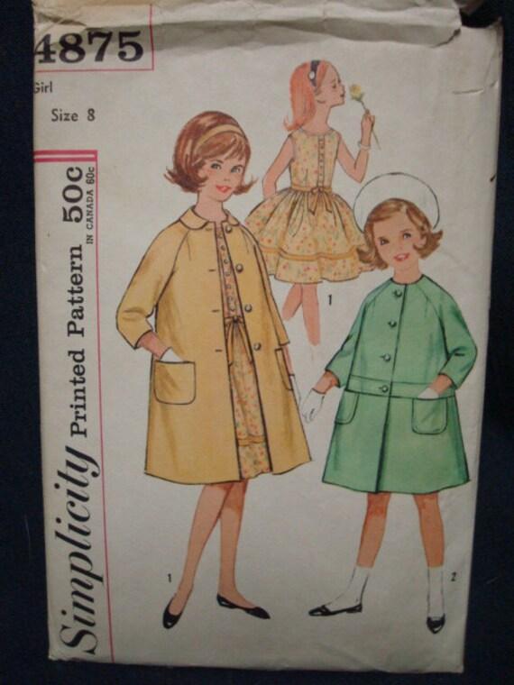 FF Simplicity 4875 UNCUT GIrl's Size 8 Full Skirted Dress & Coat