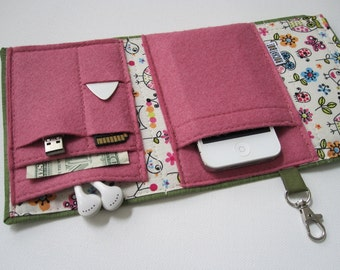 Nerd Herder gadget wallet in Woodland Whimsy for iPhone 6, Android, iPod, MP3, digital camera, smartphone, guitar picks
