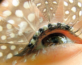 Spotted Feather Eyelash Jewelry - feather false eyelashes, grey and white