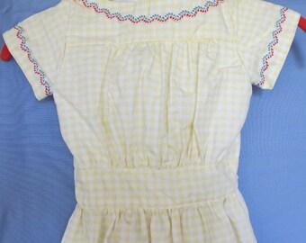 "Girl's Civil War Growth Dress Yellow Plaid Size 4 / Waist 18"""