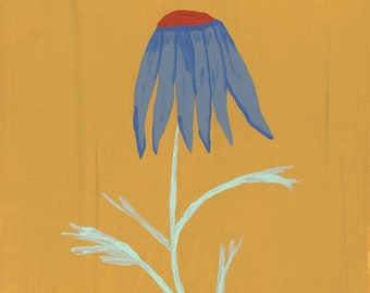 Windblown Blue Daisy With Yellow Background Giclee Canvas Print 9 x 12