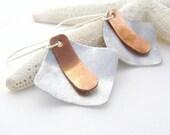 Mixed Metal Earrings, Copper, Stainless Steel, Geometric, Modern Fashion