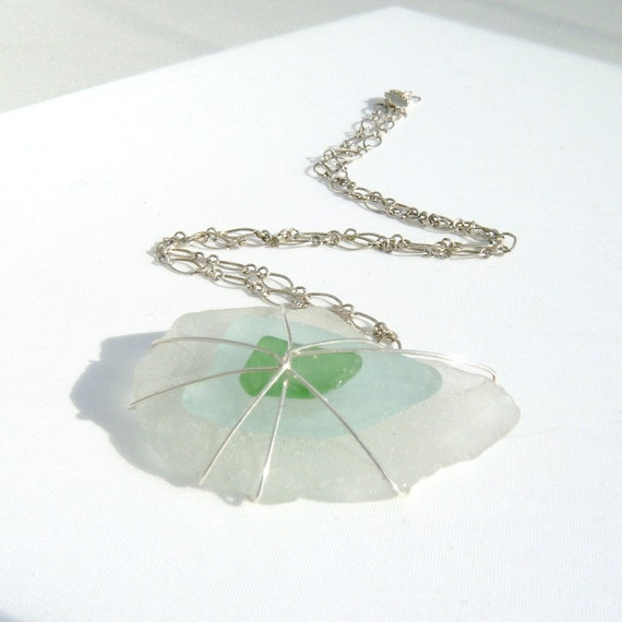 Blue, Green, and White Seaglass Necklace, Beach Chic, Summer Fashion