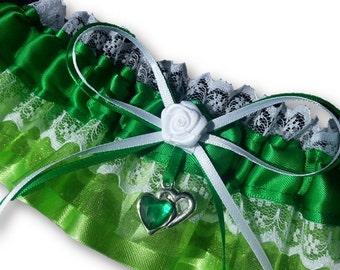 Wedding Garter , beautiful emerald green satin and lime green Wedding Garter