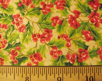 Holiday Editions for Fabri-Quilt Gold Metallic Red Berry Berries and Green Holly Leaves Out of Print Retro  -  half yard