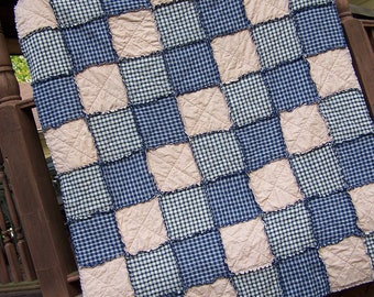 Queen Size Rag Quilt in Navy Blue Homespun Country Primitive Rustic Bedding, Farmhouse Quilt, Handmade in NJ