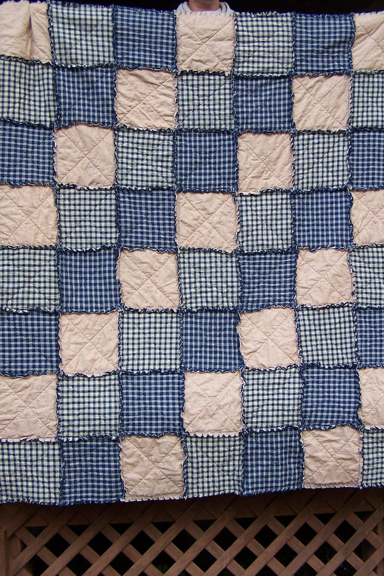 Homespun Rag Quilt Twin Bedding Size Navy By