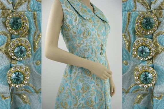 Dazzling Designer Couture Cocktail Dress - Aqua & Gold Metallic Brocade w/ Rhinestones - Mardi Gras by Levino Verna - 29 Waist