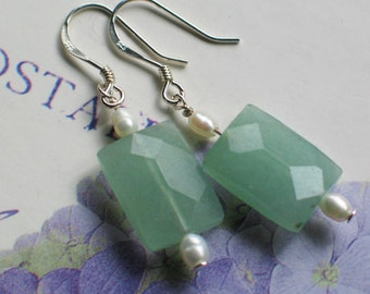Isabel Green Aventurine and Pearl Earrings. Birthday gift, Romantic Jewelry, Green gemstone.