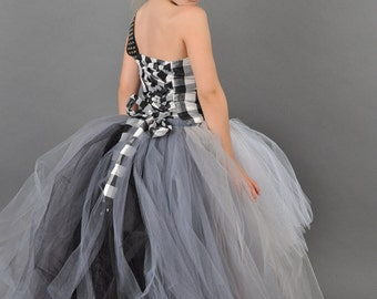 One Shoulder Flower Girl Dress w Mullet Skirt Tutu and Detachable Train--Rock n Roll Color Block--Perfect for Weddings